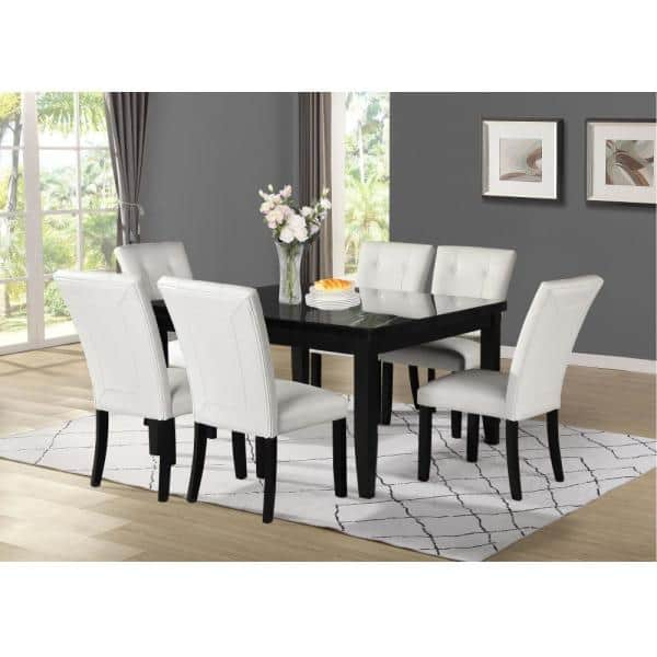 Steve Silver Markina Black Marble Square Dining Table Mk5454mt500tl The Home Depot