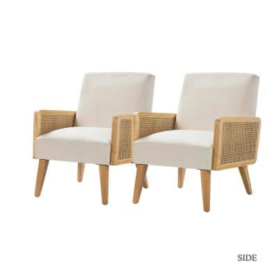 Delphine Linen Cane Accent Chair (Set of 2)