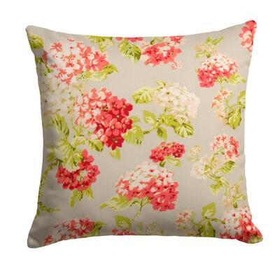 Summer Garden Orange Square Outdoor Throw Pillow