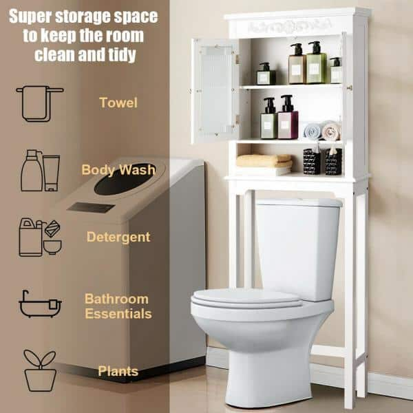 Casainc 24 In W 3 Shelf Bathroom Organizer Toilet Rack With Adjustable And Partition Storage White Wf Hw62037 The Home Depot
