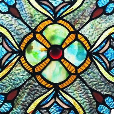 Blue Vintage Style Stained Glass Window Panel