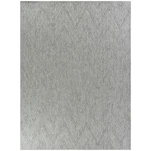 Kava Grey 5 ft. x 7 ft. Chevron Flatweave Indoor/Outdoor Area Rug