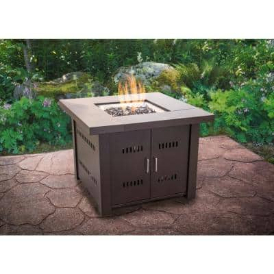 Avalon 38 in. x 29 in. Square Steel Propane Gas Fire Pit Table in Mocha