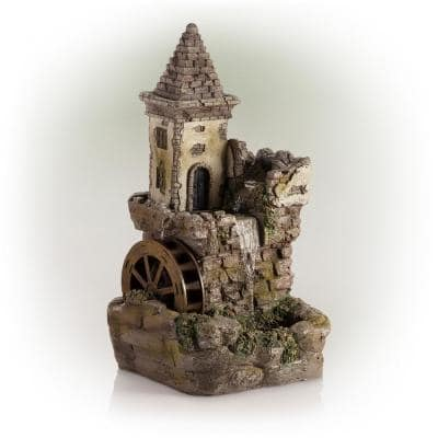 35 in. Tall Outdoor Fairy Castle Waterwheel Tiered Fountain Yard Art decoration