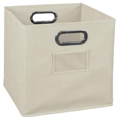 Cheer 12 in. D x 12 in. H x 12 in. W Beige Fabric Cube Storage Bin