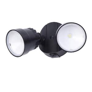 2-Light Black Outdoor Integrated LED Wall Mount Flood Light