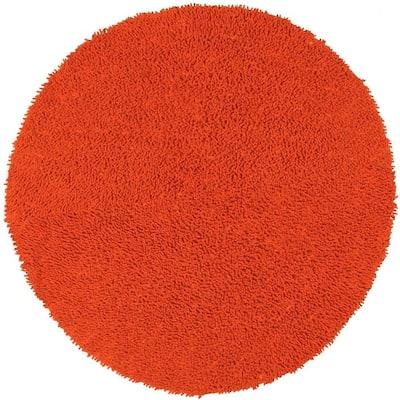 Orange Shag Chenille Twist 5 ft. x 5 ft. Round Area Rug