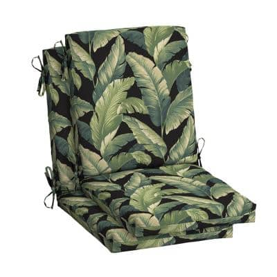 20 in.x 24 in. Outdoor High Back Dining Chair Cushion in Onyx Cebu (2-Pack)