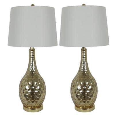 Fletcher Genie 29.5 in. Gold Glass Table Lamps with Shade (Set of 2)