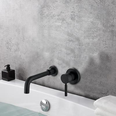 Single-Handle Wall Mount Bathroom Faucet in Matte Black