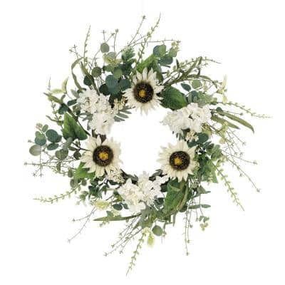 24 in. Artificial Sunflower and Hydrangea Floral Spring Wreath