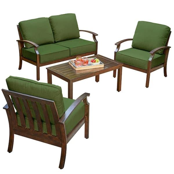 Royal Garden Bridgeport 4 Piece Metal Patio Conversation Set With Green Cushions Lakcst402 The Home Depot