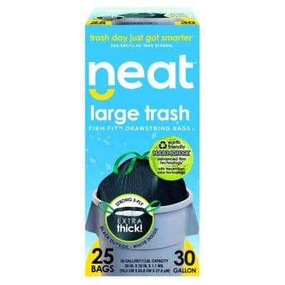 Tall Kitchen 30 Gal. 1.1 Mil Drawstring Kitchen Trash Bags Triple Ply Fortified, Eco-Friendly (Pack of 25)
