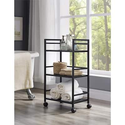Knoll View Black 3-Shelf Metal Rolling Utility Cart