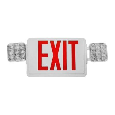 ECL1 25-Watt White Integrated LED Exit Sign with Emergency Lights and Red Lettering