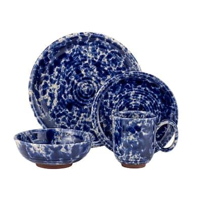 Splatter 16-Piece Casual Blue Stoneware Dinnerware Set (Service for 4)