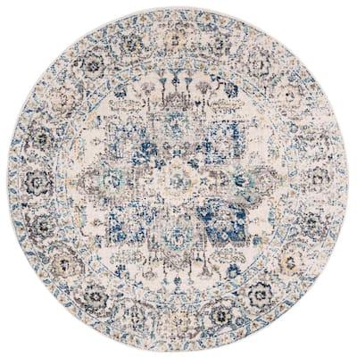 Madison Gray/Ivory 9 ft. x 9 ft. Round Geometric Area Rug