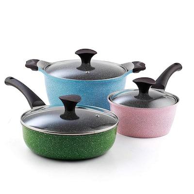 Cook N Co 6-Piece Cast Aluminum Ceramic Nonstick Cookware Set in Multi-Colored