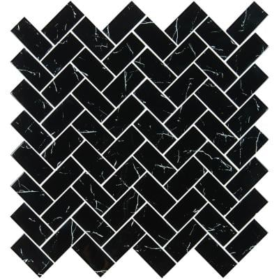 Nero Marquina 2x4 Herringbone 11.81 in. x 11.61 in. x 8 mm Glossy Glass Mesh-Mounted Mosaic Wall Tile (9.5 sq. ft./Case)