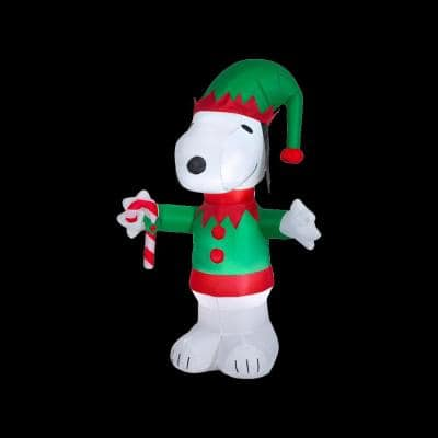 5 ft. Tall Airblown-Snoopy as Elf-MD-Peanuts (WM) Inflatable
