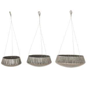 Industrial 10 in., 13 in. and 16 in. Round Corrugated Iron Hanging Planters (Set of 3)