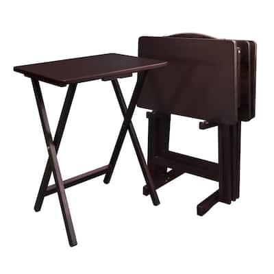 5-Piece Espresso Foldable Tray Table