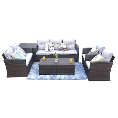 Cara 6-Piece Wicker Patio Conversation Set with Gray Cushions