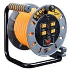 50 ft. 15 Amp 12 AWG Medium Open Reel with USB Charging and 4-Sockets