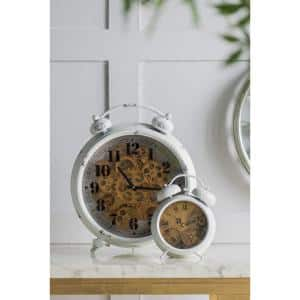 White Classic Gears Table Clock