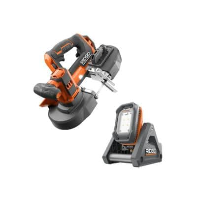 18V Cordless 2-Tool Combo Kit with Compact Band Saw and Flood Light with Detachable Light (Tools Only)