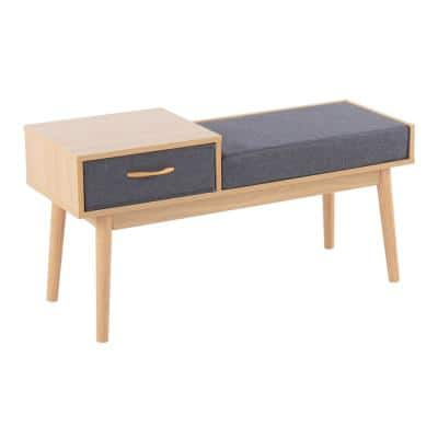 Telephone Natural Wood and Grey Fabric Bench with Pull-Out Drawer (20 in. x 39.5 in. x 15 in. )