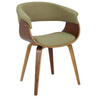 Vintage Mod Walnut and Green Dining/Accent Chair