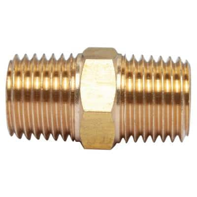 1/4 in. MIP Brass Pipe Hex Nipple Fitting (5-Pack)