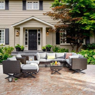 Patio Festival X Leg 12 Piece Wicker Patio Conversation Sectional Seating Set With Gray Cushions Pf20143x2 205 206 713x2 714x2 715 716x3 The Home Depot