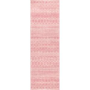 Blythe Modern Moroccan Trellis Pink 3 ft. x 8 ft. Runner