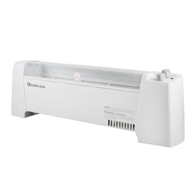 29 in. 1,500-Watt White Convection Baseboard Heater with Silent Operation