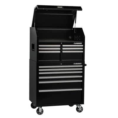 36 in. W 12-Drawer, Deep Combination Tool Chest and Cabinet Set in Gloss Black