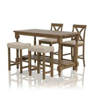 Simma 5-Piece Rustic Oak Counter Height Table Set with Stools