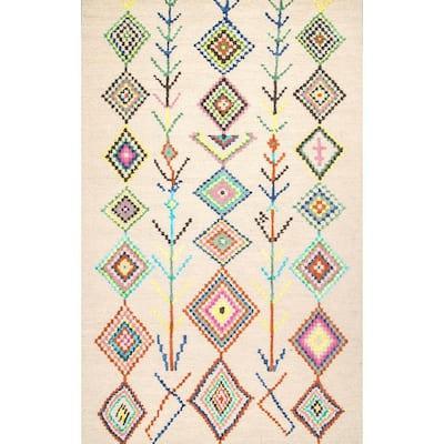 Belini Moroccan Southwestern Symbols Ivory 5 ft. x 8 ft. Area Rug