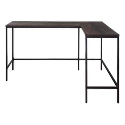 Contempo L-shaped 56 in. x 48 in. Desk in Ozark Ash Brown with Black Metal Frame (Set of 1)