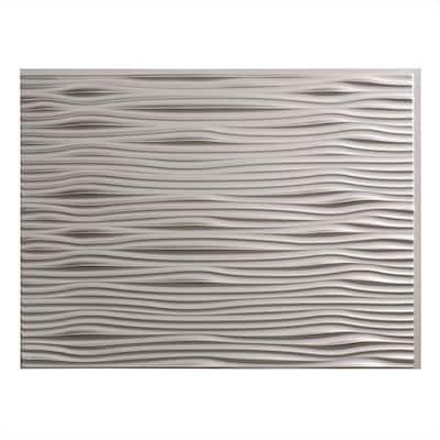 18.25 in. x 24.25 in. Waves Vinyl Backsplash Panel in Argent Silver (5-Pack)