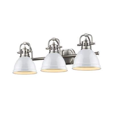 Duncan 3-Light Pewter Bath Light with White Shade