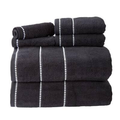 6-Piece Black/White Luxury Quick Dry 100% Cotton Bath Towel Set