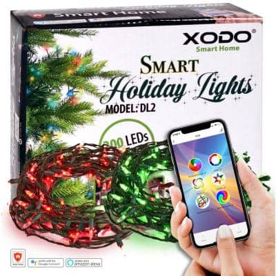Smart Christmas Lights Outdoor/Indoor 70 ft. Plug-In Globe Bulb LED String Light Compatible with Alexa/Google Assistant