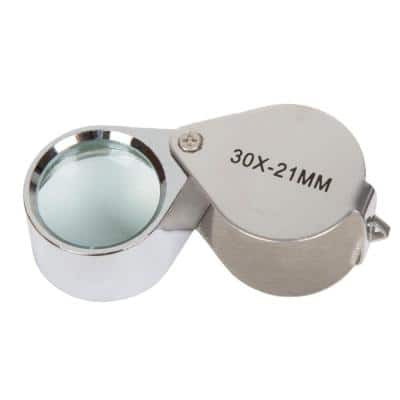 2.25 in. 30x Jewelers Eye Loupe Magnifier with Case