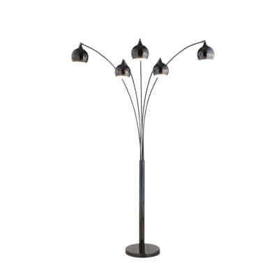 Amore 86 in. Jet Black LED Arc Floor Lamp with Dimmer