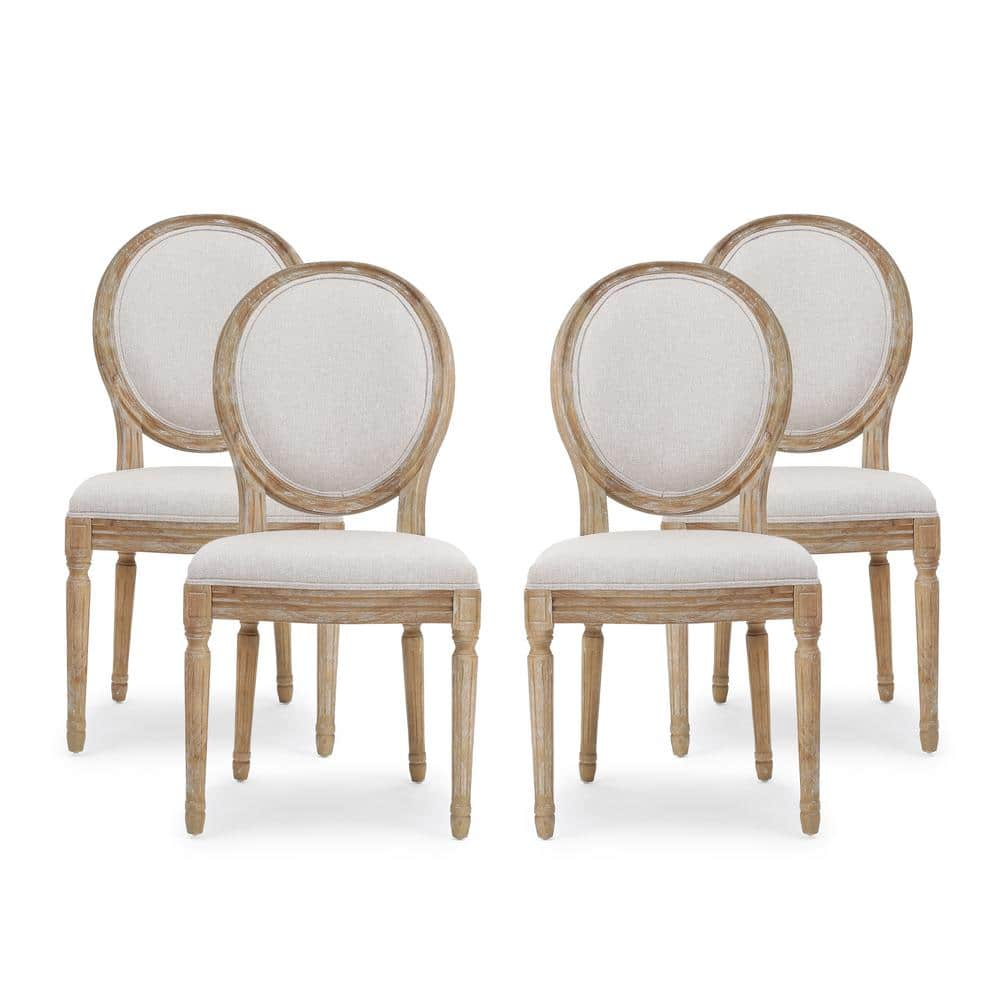 Noble House Phinnaeus Beige Fabric Upholstered Dining Chair Set Of 4 82919 The Home Depot