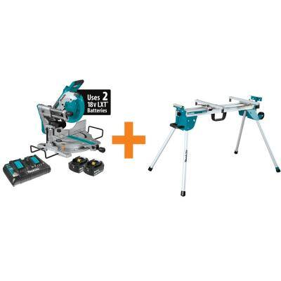 18-Volt Lithium-Ion Brushless Cordless 10 in. Dual-Bevel Sliding Compound Miter Saw and Compact Folding Miter Saw Stand