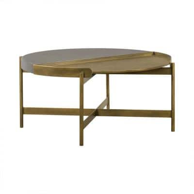 Dua 16 in. H Grey Antique Brass Concrete Coffee Table
