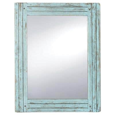18.5 x 23.8 Blue Rectangle Distressed Wood Frame Wall Mirror